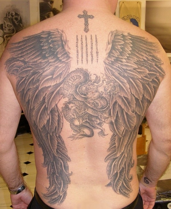 17 Attractive Angel Tattoo Design For Men