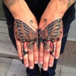 Hand Butterfly Tattoo Design