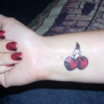 Hand Cherry Tattoo Design