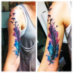 Hand Feather Tattoo Design
